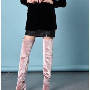 Over the knee boots , pink , velvet